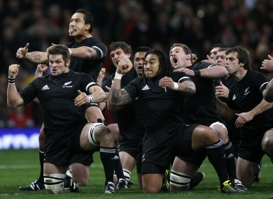 The All- Blacks performing the HAKA. Expect to see this a lot around breakfast time in the coming months.