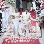 Prince Albert II of Monaco and Princess Charlene leave the Royal Palace in Monaco after their wedding.