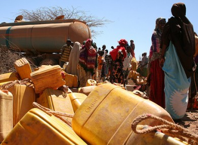 Trucking much-needed drinking water to villagers in Ethiopia