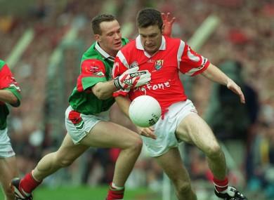 Joe Kavanagh and David Brady do battle in the 1999 All-Ireland semi-final.
