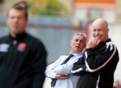 Pete Mahon cranes his neck to see some of Pat's 2-2 draw with Dundalk last Sunday.