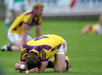 Wexford's Brian Malone devastated at the end of the game.