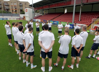 Damien Richardson addresses his players during training on Tuesday.