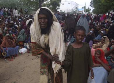 Waiting for food at a camp in Moghadishu, Somalia this week.