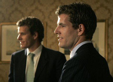 Twin brothers Cameron, left, and Tyler Winklevoss