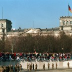 The border between East and West Germany officially opened on 9 November, 1989.   This image was taken the following morning as people felt freedom for the first time in 28 years.