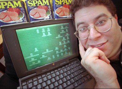 Wallace with a computer and some...eh...spam in 1997.