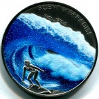 Palau - an island nation in the Pacific Ocean - has a whole host of unusual coins, including one that doubles as a dealer button for poker games. However, this has to be one of the strangest coins in the world. The coloured coin depicts a female surfer with the slang word 'onoliscious' (surfer slang for great). 