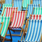Empty deckchairs on Clapham Common during wet weather in the UK. (Anthony Devlin/PA Wire)