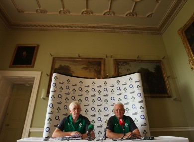 Ireland team manager Paul McNaughton and assistant coach Alan Gaffney.