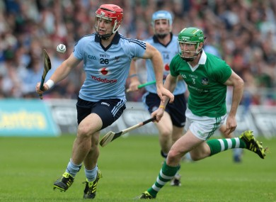 Dublin's David Treacy and Seamus Hickey of Limerick during the All-Ireland quarter-final.
