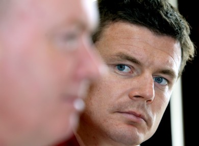 Declan Kidney and Brian O'Driscoll during the squad announcement this lunchtime.