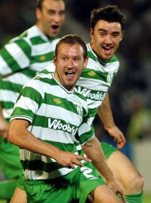 Rovers' Pat Sullivan celebrates scoring his stunning equaliser.