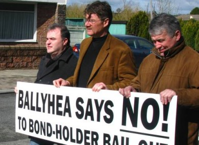 Diarmuid O'Flynn, centre, on one of the weekly marches in Ballyhea.