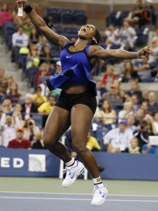 Serena Williams celebrates her win over Caroline Wozniaki.