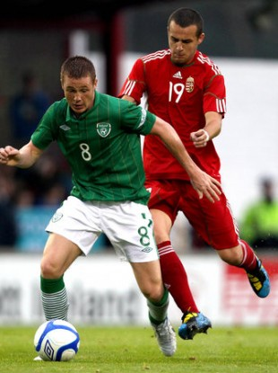 McCarthy in recent action for the U21s against Hungary.