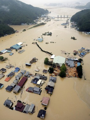 Heavy downpours by Typhoon Talas swamp a residential area in Kiho, central Japan