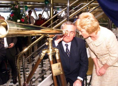 Ahern and Larkin at the launch of a new ferry from Dublin to Holyhead in June 1999.