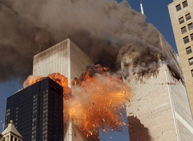Smoke billows from one of the towers of the World Trade Centre on 9/11.