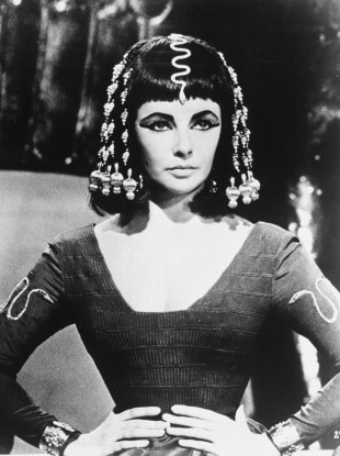 Elizabeth Taylor in costume on the set of Cleopatra in 1963.