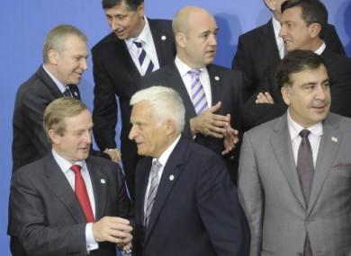 Enda Kenny speaks with European Parliament president Jerzy Buzek.