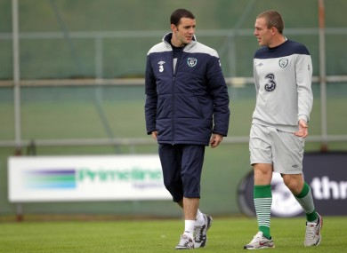 John O'Shea and Richard Dunne in training yesterday.