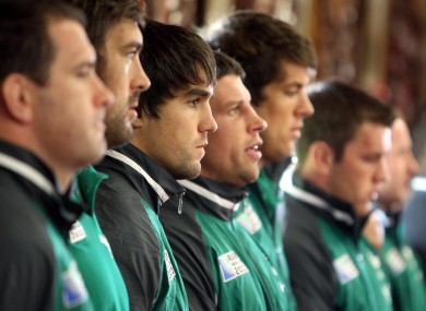 The Ireland squad during the welcome ceremony in New Plymouth earlier.