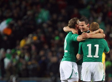 Jonny Sexton celebrates with Keith Earls and Andrew Trimble - but did Ireland cheat their way to victory?