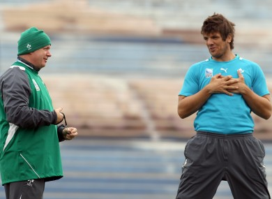 Head coach Declan Kidney and Donncha O'Callaghan at training earlier.