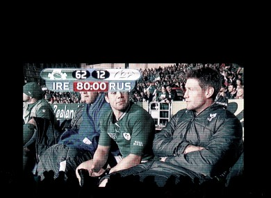 The Irish bench is shown in the big screen.