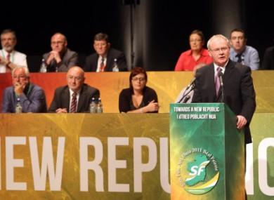 Martin McGuinness speaking at Sinn Féin's Ard Fheis last week.