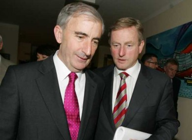 Gay Mitchell with party leader Enda Kenny during Fine Gael think-ins this week.