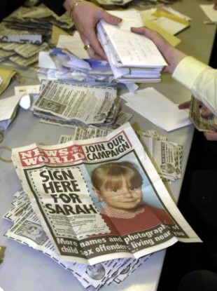 The News of the World spearheaded a campaign to have Sarah's Law introduced in England following the murder of Sarah Payne by a known sex offender in 2000.