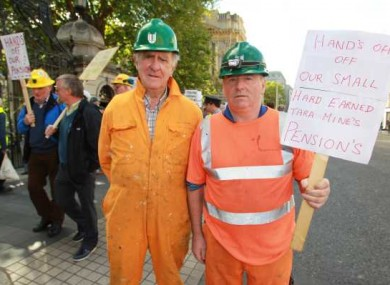 Tara Mines Pensioners John Clancy and John McQuillan protesting outside the Dáil today about the cuts to their pensions due to the government levy.
