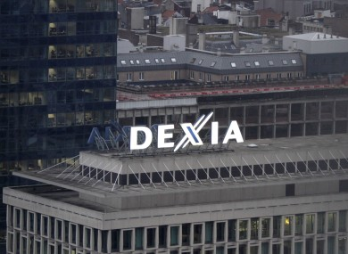 The Dexia logo is seen on the top of a building from the Dexia bank headquarters in Brussels