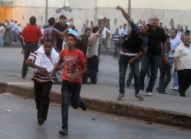Clashes erupt at a protest of a recent attack on a church in Cairo Egypt, Sunday, Oct. 9, 2011.