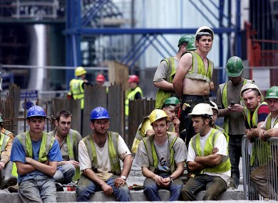 Construction workers at the Dublin Port Tunnel in 2006 (File photo)