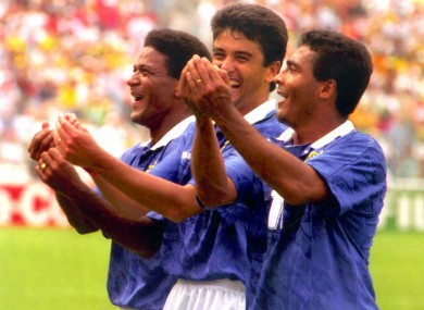 Bebeto and Romario rocking the baby during Brazil's semi-final win over the Netherlands.