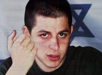 A poster of Shalit on a wall in Jerusalem