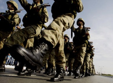 File photo of Turkish soldiers taking part in a military parade in November 2010.