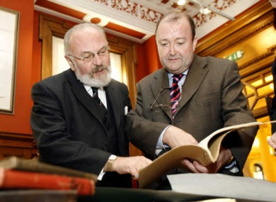 David Norris, pictured at the handover of his personal archive to the National Library in 2007.