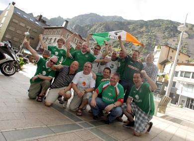 Ireland fans in Andorra yesterday.