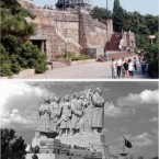 Michael Jackson's statue (top) was erected in Prague in a spot once occupied by a massive 12-metre high and 30-metre wide monument of Stalin (bottom) on the occasion of Jackson's first concert of his world History tour in 1996. 