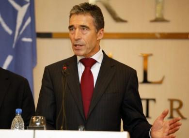 NATO Secretary-General Anders Fogh Rasmussen speaks to reporters in Tripoli.