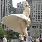 Marilyn Monroe is remembered in her most famous pose on Michigan Avenue in Chicago. 