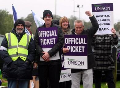 Workers strike outside Antrim Area Hospital.
