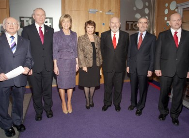The seven candidates at TG4's studios yesterday.