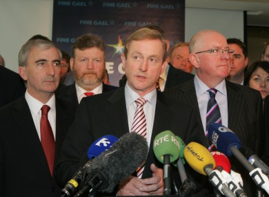 L-R: Gay Mitchell, James Reilly, Enda Kenny and Charlie Flanagan in September (File photo)