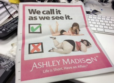 The website's full page ad on the back of the New York-based Metro caused controversy earlier this week.