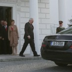 Bertie Ahern leaves Aras an Uachtarain in Dublin, after tending his resignation as Taoiseach to Irish President Mary McAleese on 6 May 2008.